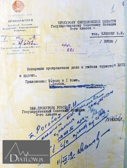Tragedia naPrzełęczy Diatłowa - pismo zProkuratury Generalnej