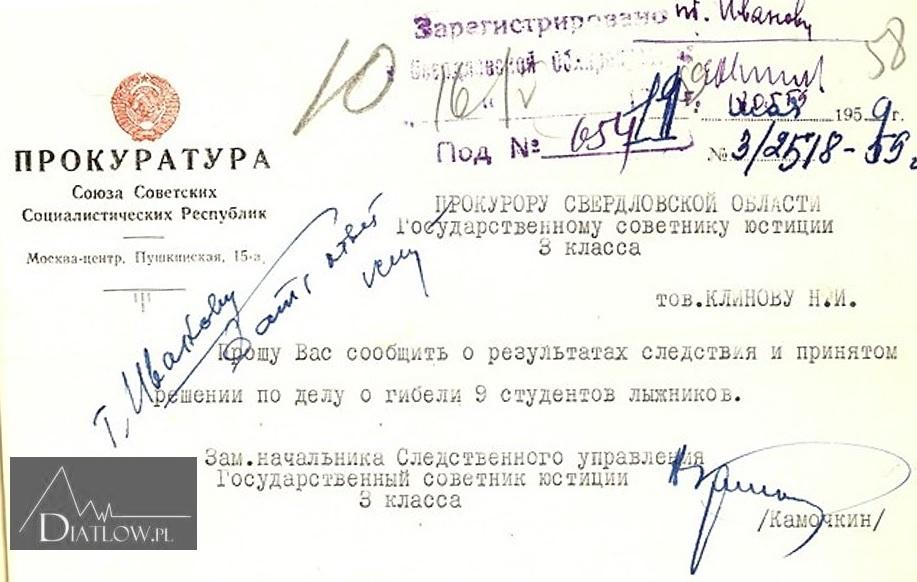 Tragedia naPrzełęczy Diatłowa - telegram zProkuratury Generalnej