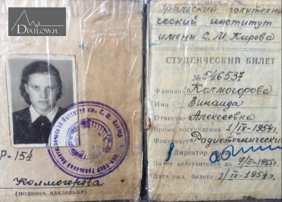 Zinajda Kołmogorowa, Zina, Przełęcz Diatłowa