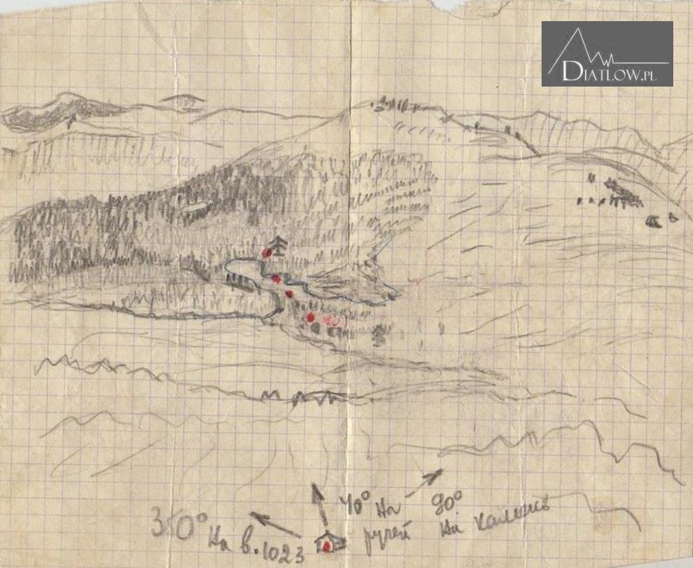 Przełęcz Diatłowa Chołatczachl, mapa, szkic
