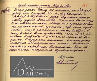 Borys Słobcow - Przełęcz Diatłowa, akta śledcze