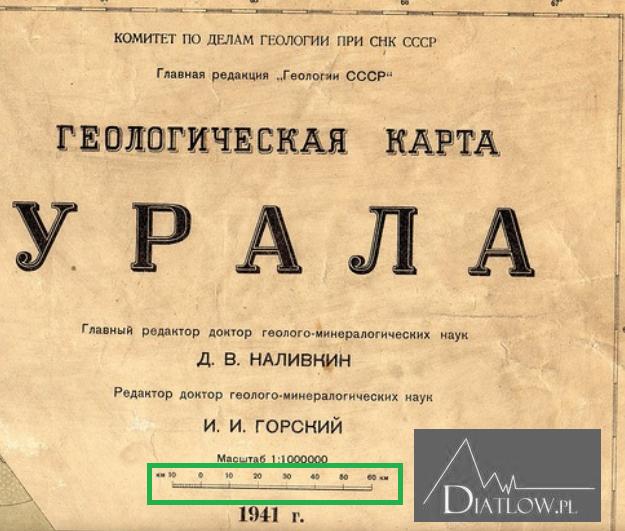 Mapa geologiczna Uralu z1941 roku