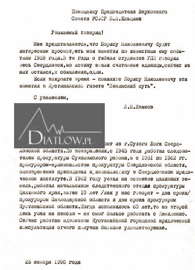 List prokuratora Lwa Iwanowa doBorysa Jelcyna