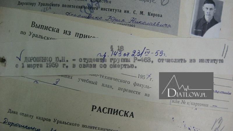 Jurij Doroszenko, akta osobowe