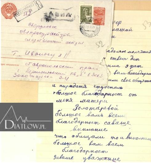List matki Siemiona Zołotariowa doprokuratora