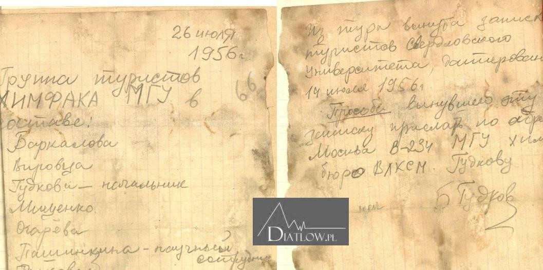 Kartka zeszczytu Otorten, którą miał zabrać Igor Diatłow