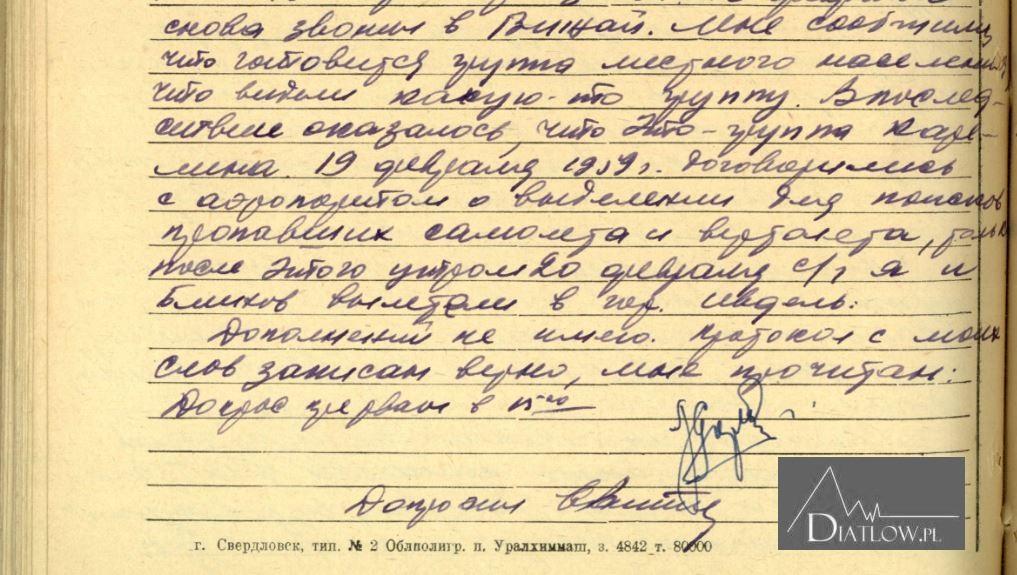 Lew Gordo zeznania wprokuraturze owyprawie Diatłowa