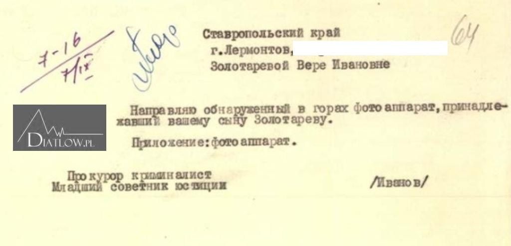 Siemion Zołotariow, pismo prokuratora Lwa Iwanowa