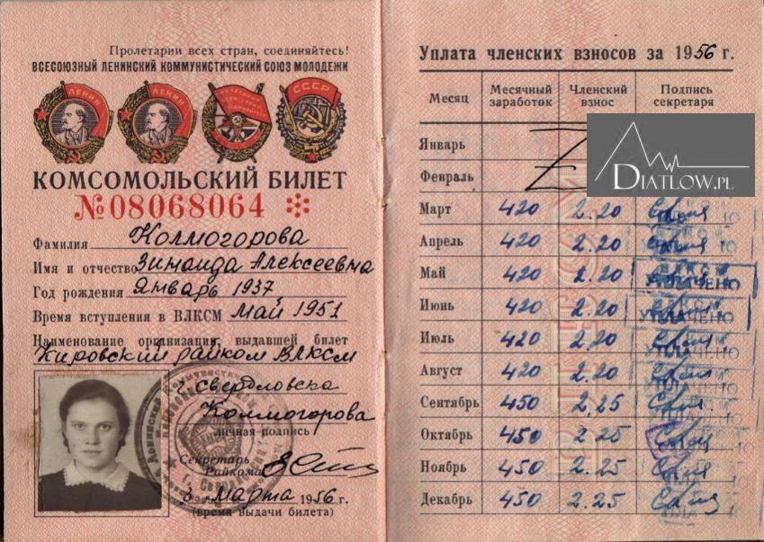 Zina Kołmogorowa, legitymacja Komsomołu